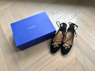 全新 Aquazzura dancer flat lace up suede shoes 平底鞋