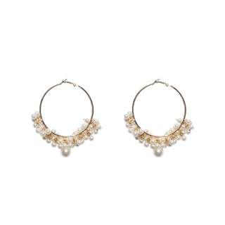 日韓新款珍珠聚星耳圈
