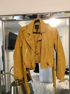 Forever 21 Mustard Suede Biker Jacket