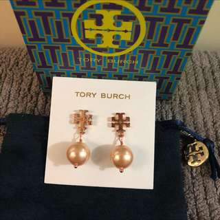 Tory Burch Pearl Earrings (rose gold)
