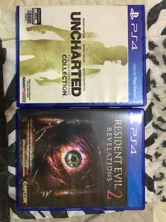 PS4 games Uncharted collection n Resident Evil 2