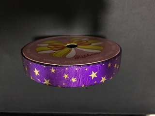 Purple Ribbon with Gold Stars