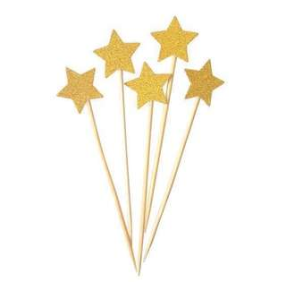 6 pc Glitter Stars Birthday Cake Topper Happy Bunting Party Decoration Cupcake Decor Toppers