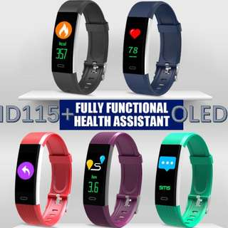 ID115+ 0.96 inch Color OLED Smart Bracelet Wristband Real-time heart rate monitoring USB charger