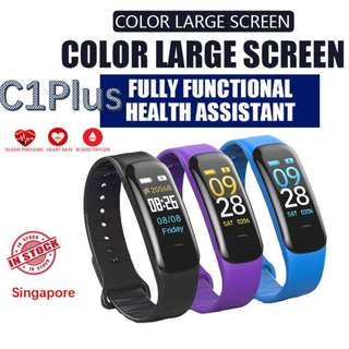 "C1 Plus 0.96"" Color LED Smart Bracelet Wristband Heart Rate Monitor Blood Pressure Monitor"