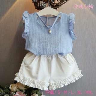 🚚 ❤️女童雪紡上衣+短褲套裝