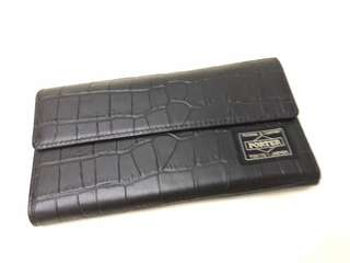 Head Porter leather wallet WOC 真皮 鱷魚皮紋 銀包 有皮斜揹帶