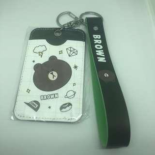 LINE Brown Bear Card Holder w/ Wrist Strap