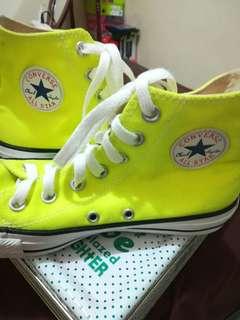 Orig converse high cut shoes neon green