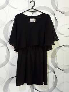 Korean Style  Black Sheer Dress with Garterized Waistline & Laced Sleeves