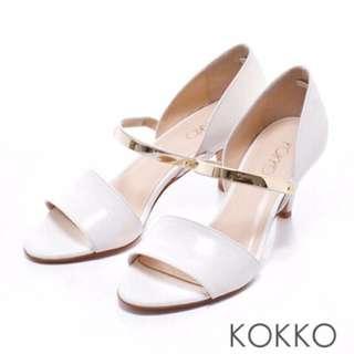 全新 KOKKO金屬魚口跟鞋高跟鞋