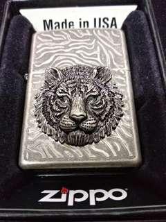 【全新】原裝正版 Zippo 限量版 經典 古銀 立體 霸氣 虎頭 禮盒 套裝 Set