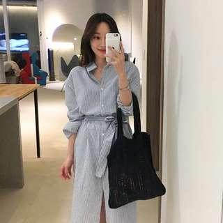 Minimei追加款✪韓系韓版百搭休閒 顯瘦竪條紋復古襯衫式連衣裙