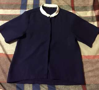 FORME blue semi cropped polo top
