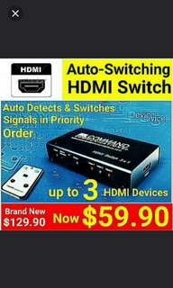 SMART AUTO HDMI Switches - Automatically Routes 3 X HDMI Devices to your HD TV.Usual Price: $129.90 Special Offer:$ 59.90+ Free Mail Postage ( Brand New In Box & Sealed)