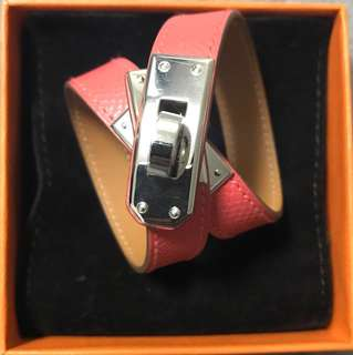 Hermes Kelly Double Tour Bracelet XS T5 Rose Jaipur