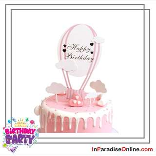 Hot Air Balloon Cake Topper Set For Girl