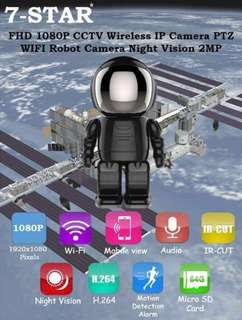 7-STAR* 2 Megapixels Full-HD 1080P Wireless IP Wifi Robot Camera (Wide-Angle FHD Resolution/Night Vision/Pan Tilt Zoom/Motion Detection/Loop Recording/Two-Way Audio/Latest Black Design with Hidden Lens)