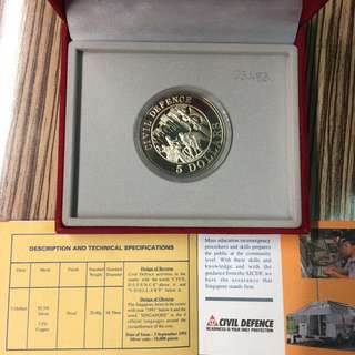 Singapore 1991 Civil Defence $5 silver proof coin