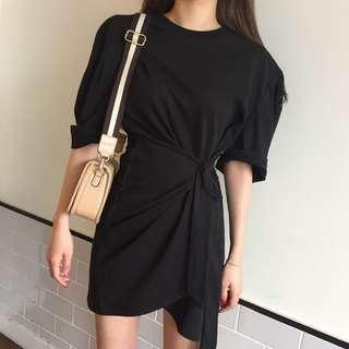Minimei追加款✪韓系韓版百搭休閒 個性多種穿法打結不規則款短袖連衣裙