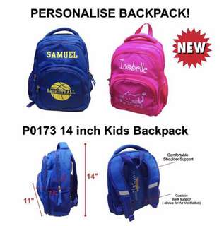 14 inch personalised School Bag
