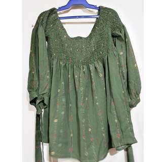 Green Zara-inspired smocked boho top