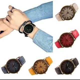 Jam tangan bahan pria/wanita kekinian