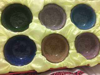 🚚 六色琉璃陶瓷冰裂茶具組