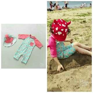 🚚 全新 女童 防曬 海邊 沙灘 連身 泳衣(含遮陽帽)