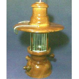 Antique Kerosene lamp in burnish teak