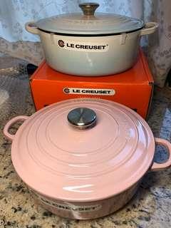 Le Creuset Powder Blue 25 Oval; Chiffon Pink 24 Risotto