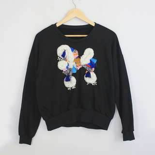 Korean Fashion Style Black Embroidered Design Front Sweater Jumper Top