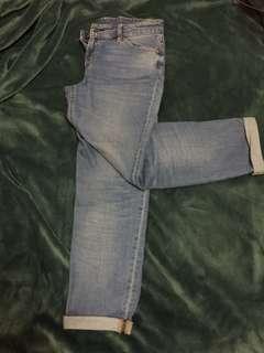 🚚 無印良品MUJI 藍色boyfit九分牛仔褲26吋