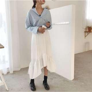 白色不規則百摺長裙