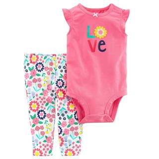 BN 6m/9m/18m/24m Carters 2-Piece Bodysuit Pant Set LOVE