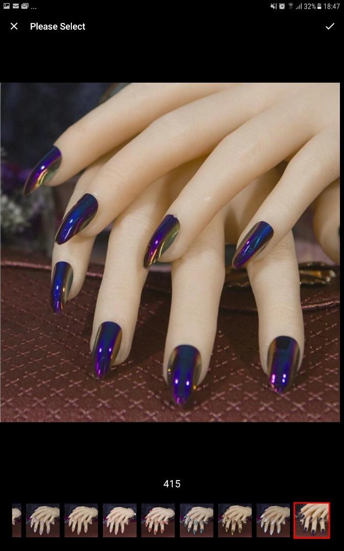 24Pcs Ballerina Coffin Full Nails Mirror Chrome False Nail Solid ...