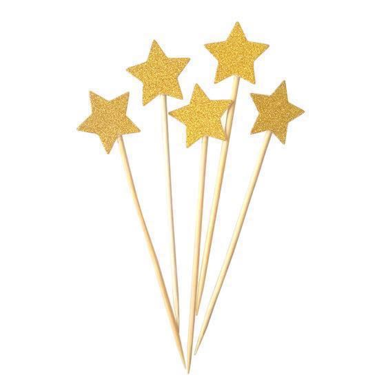 6 Pc Glitter Stars Birthday Cake Topper Happy Bunting Party