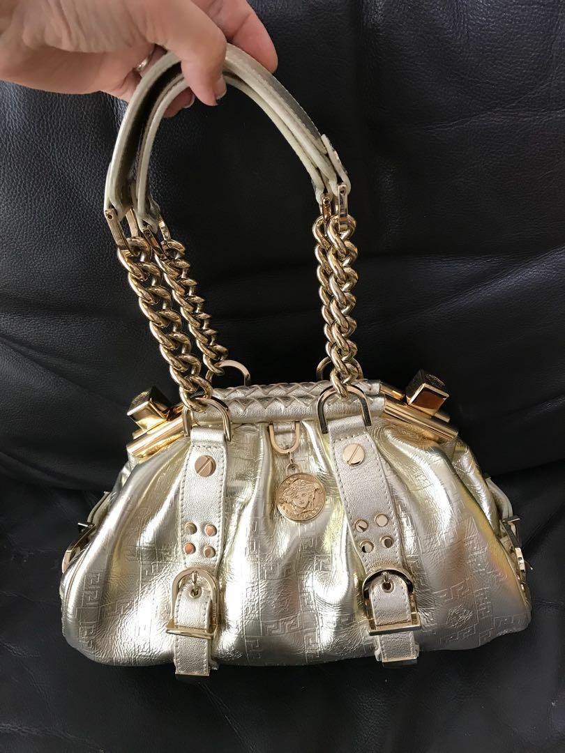 fc9e43f5385d Authentic Versace Medusa gold metallic chain handle bag
