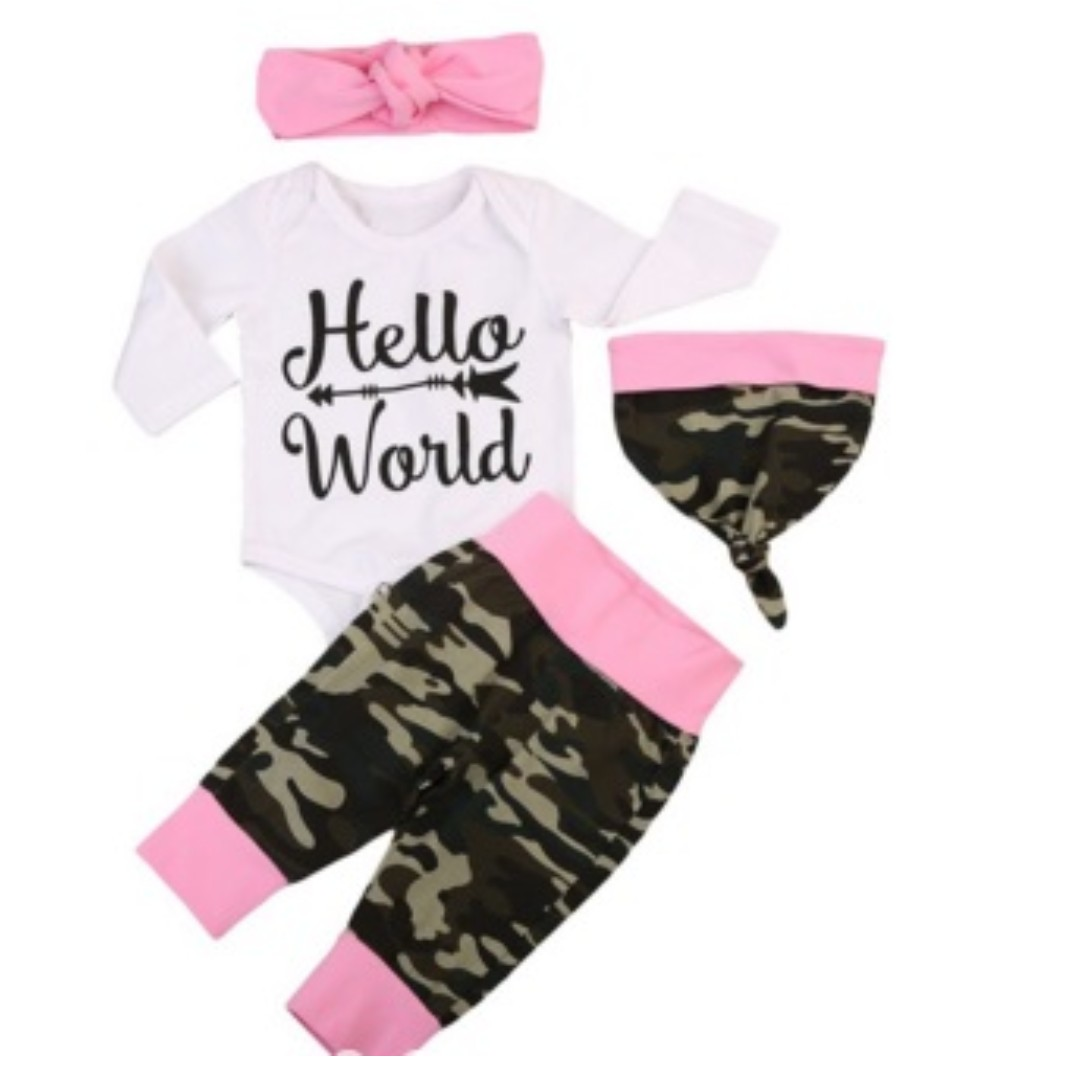 79f5e5677630 Baby   Infant HELLO WORLD Newborn Girl Arrival Camouflage Army Pink ...