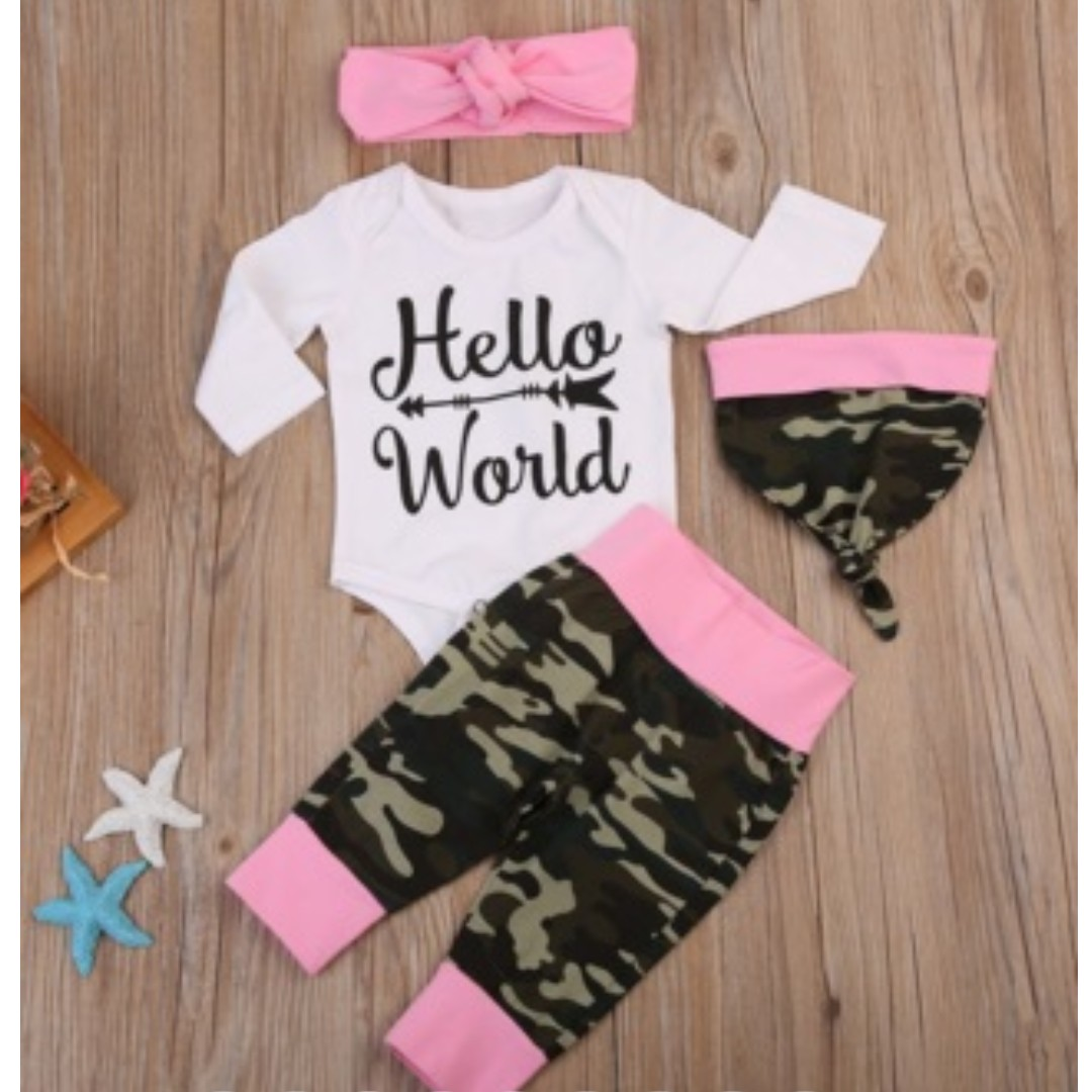 8d1848c1f633 Baby   Infant HELLO WORLD Newborn Girl Arrival Camouflage Army Pink Print  Cap   Long Sleeve Romper Top 2 Pc Set
