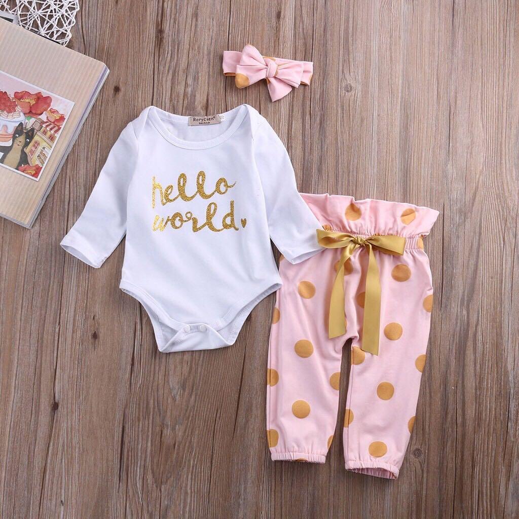 50d2f9745 Baby body suit   pants Hello World set