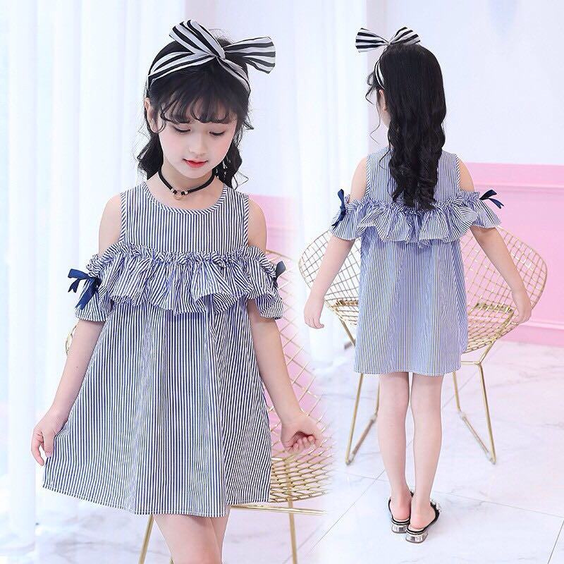 Dress anak perempuan model off shoulder import, Babies & Kids, Girls' Apparel on Carousell