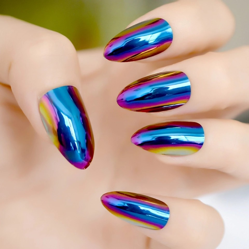 Fashion Mirror Chrome Holo Blue Oval Fake Stiletto Nails Tips ...
