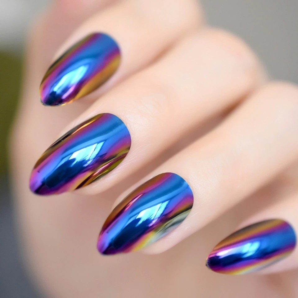 Fashion Mirror Chrome Holo Blue Oval Fake Stiletto Nails Tips