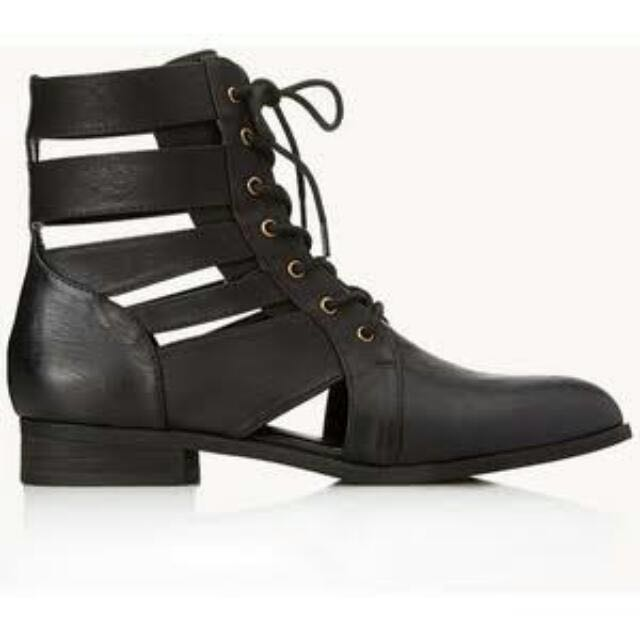 FOREVER21 Black Cutout Combat Boots