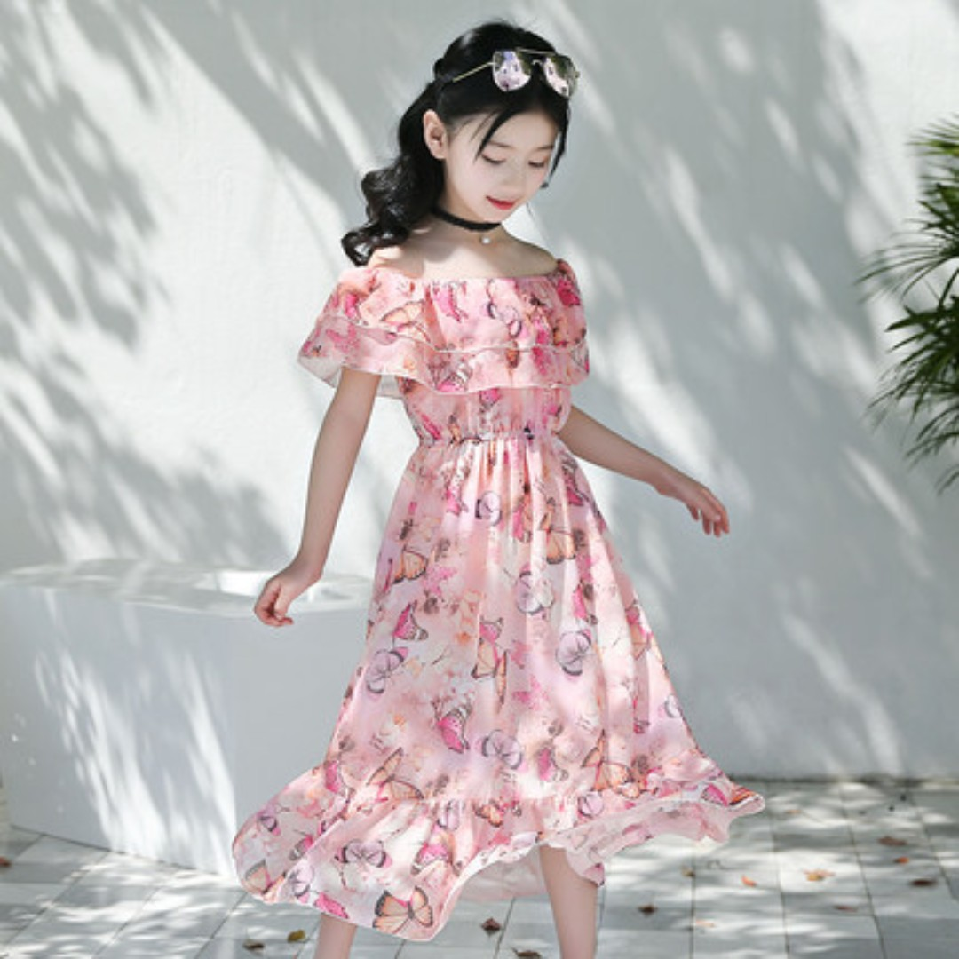 c045f7623 Girls Chiffon Pink Dress Off Shoulder Floral Up to 12 Years Old ...