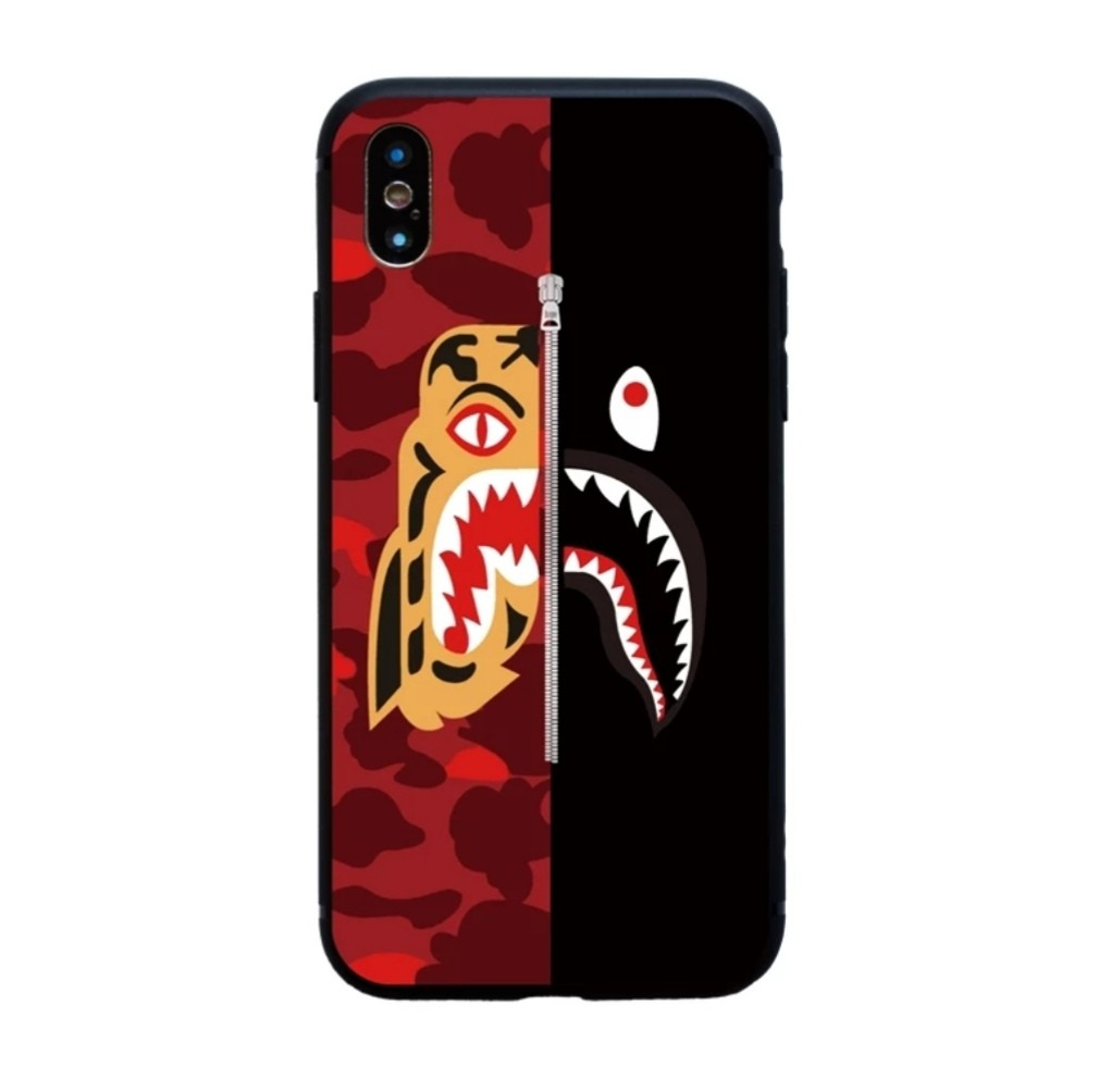 release date 02073 1475c Half BAPE shark Tiger Shark iPhone X Case iPhone 8 7 6 Plus Fashion Cover  Streetwear iPhone Case A Bathing Ape tiger shark