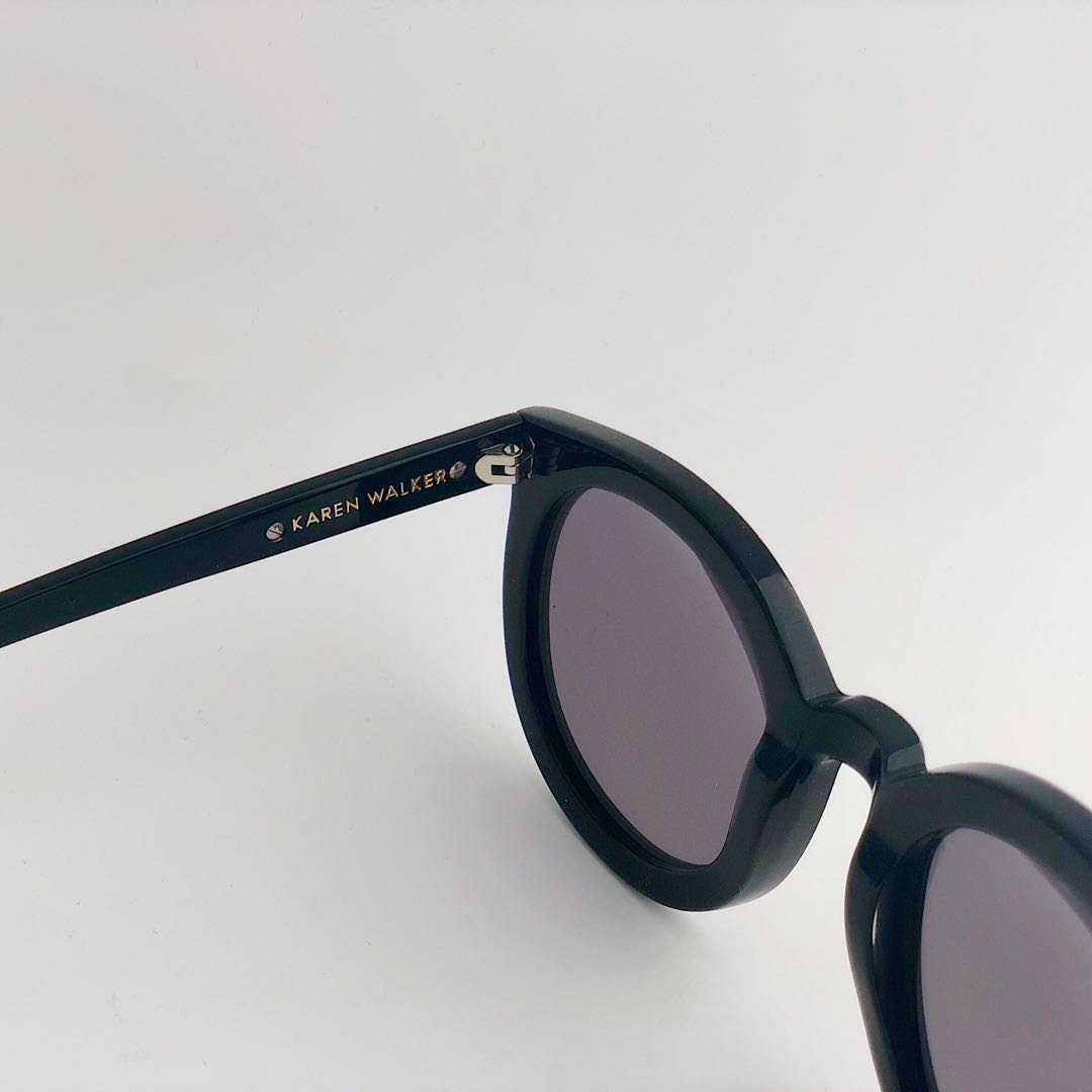 KAREN WALKER Super Duper Black with Rose Gold Mirror Sunglasses