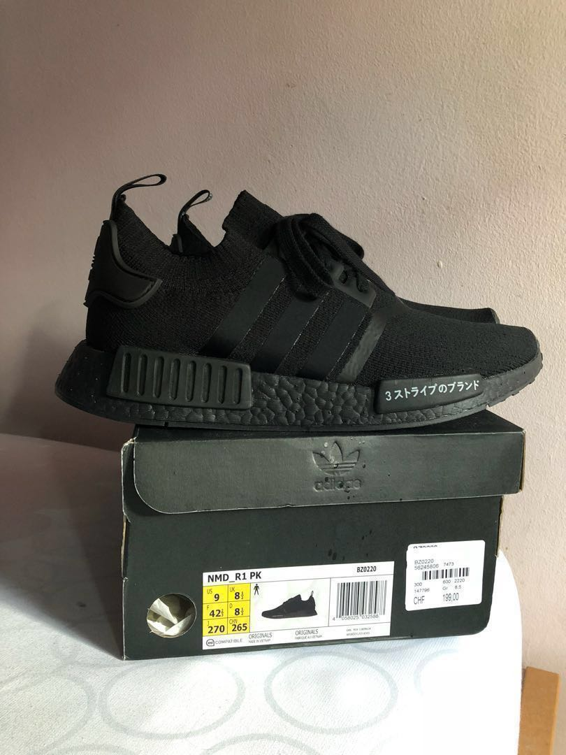 dd24392b52247 LNDS  Adidas NMD R1 PK Triple Black Japan US9   UK8.5