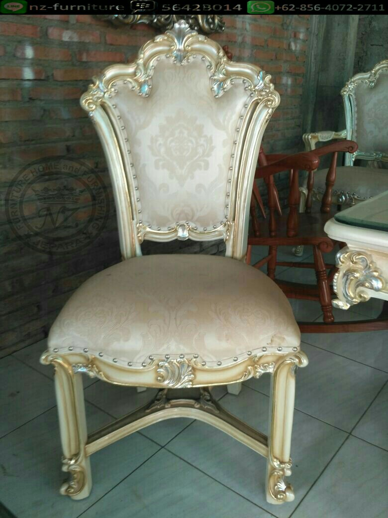 Meja makan klasik ivory brown home furniture on carousell